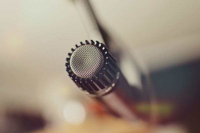 Close-up selective view of microphone