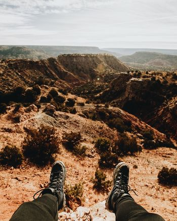 I was in Palo Duro, with the best view Adult Adults Only Adventure Amarillo Amarillo, TX Beauty In Nature Cliff Day Hiking Human Body Part Human Leg Low Section Men Nature One Man Only One Person Outdoors Palo Duro Canyon, TX People Rock - Object Shoe Sky Texas