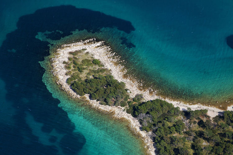 High angle view of coastline in adriatic sea, croatia
