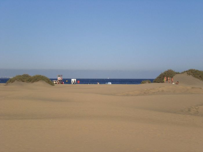 Beauty In Nature Blue Clear Sky Coastline Day Horizon Over Water Idyllic Lifestyles Nature Non-urban Scene Outdoors Remote Scenics Sea Shore Sky Tourism Tranquil Scene Tranquility Travel Destinations Vacations Dunes De Maspalomas Dunes Playa Del Ingles Gran Canaria