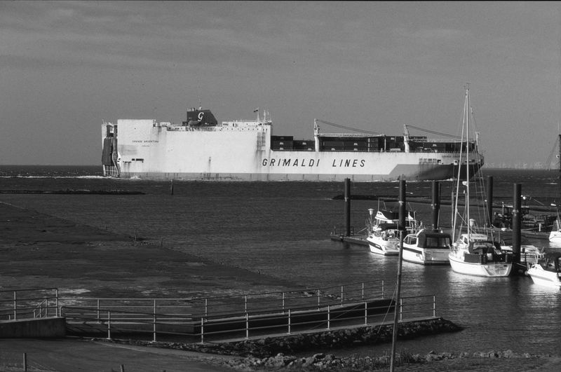 At the Elbe River Estuar Analogue Photography Canon Eos 30 Adox Silvermax 100 Film monochrome photography Film Photography Filmisnotdead Monochrome Mono Elbe River Northern Germany Nautical Vessel Water Sea Harbor Sky Tall Ship Sailing Ship Cargo Container Ship Mast Nautical Equipment
