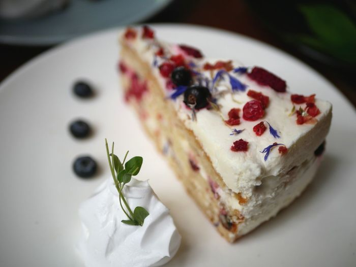Close-up of dessert served on table