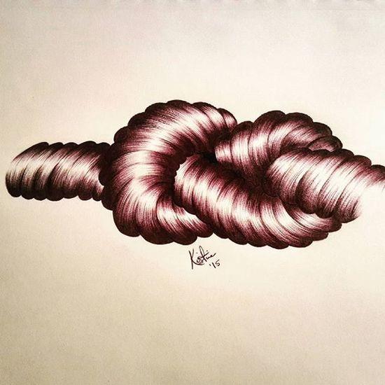 Ballpointpen Ballpoint Ballpointpenart Rope knotts drawing art artist sailing salior shades shading