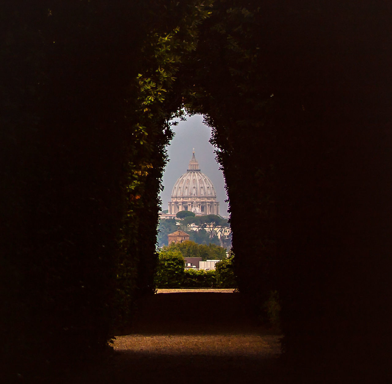 View of cathedral seen through tunnel