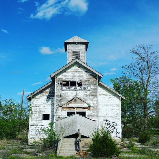 Abandoned Architecture Building Exterior Built Structure Outdoors Sky Cloud - Sky Day No People Tree Picher, Oklahoma
