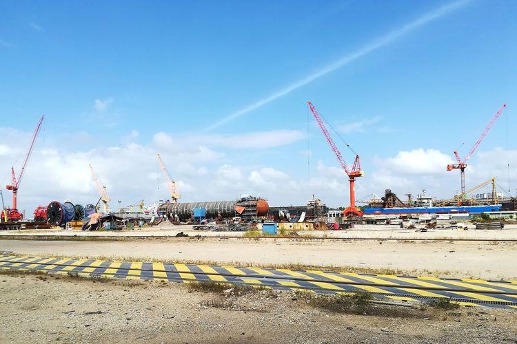 Construction site against blue sky