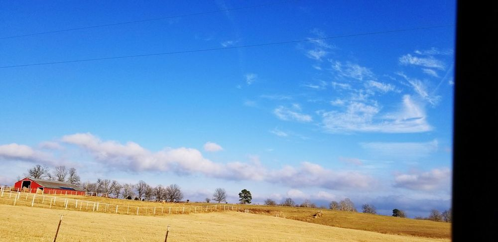 Country life Barn Country Living Drivebyphotography Tranquility Beaitful Nature Thru The Fence Old-fashioned EyeEmbestshots Blue Agriculture Sky Cloud - Sky Farmland Agricultural Field Fence Countryside Tranquil Scene