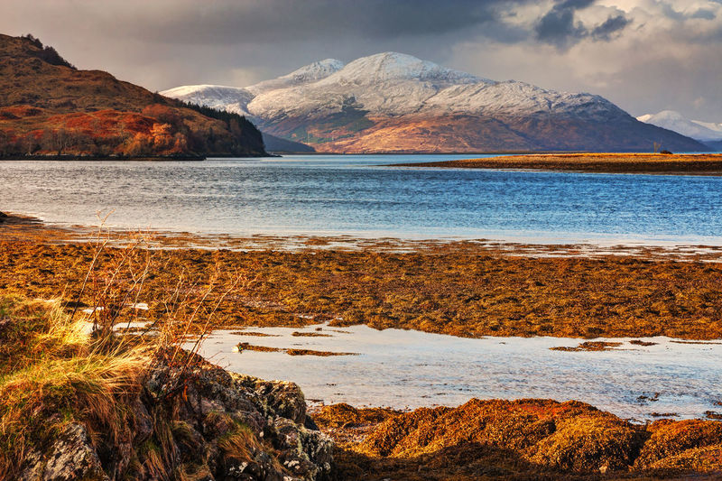 Remote Scottish Landscape at Dornie Scotland Scottish Highlands Landscape Scottish Landscape Nature Loch  Lake Water Snowcapped Mountain Snow-covered Mountain High Angle View Hill Winter Uk Highlands