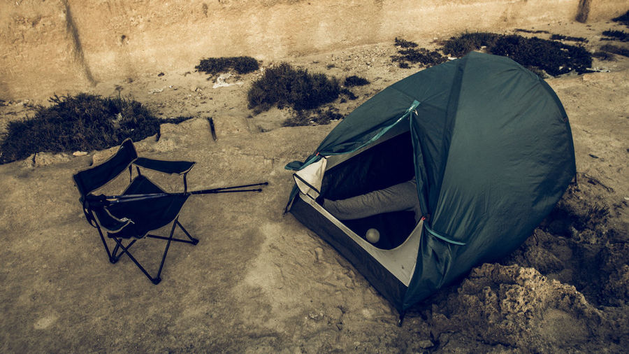 View of tent on beach