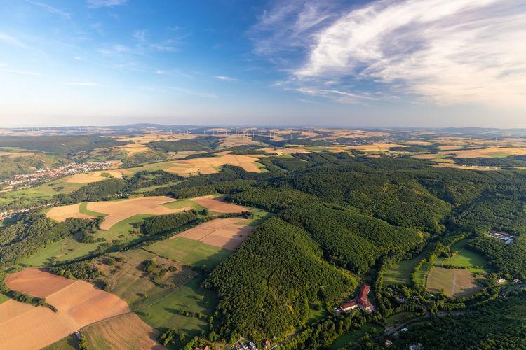 Aerial view at a landscape in germany, rhineland palatinate near bad sobernheim