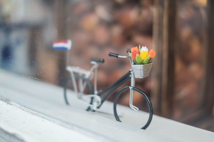 Close-up of toy bicycle on window sill seen through glass