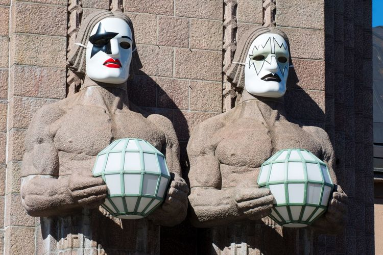 Can you guess which band visited Finland? Human Representation No People Architecture Built Structure Statue Day Outdoors Kiss Band Music Mask Masked Masks Building Exterior Finland