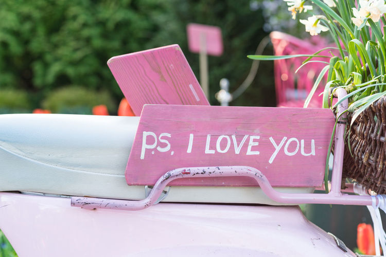 Pink sign on the seat of a scooter saying 'P.S. I love you' Engagement Pink Ps I Love You Romantic Wedding Boyfriend Close-up Day Flower Flowering Plant Girlfriend I Love You Marriage  Message Nature Outdoors Pink Color Plant Proposal Script Seat Text