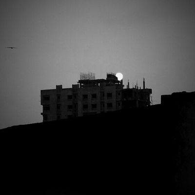 Sunset view Kolkata Blackandwhite Picsart