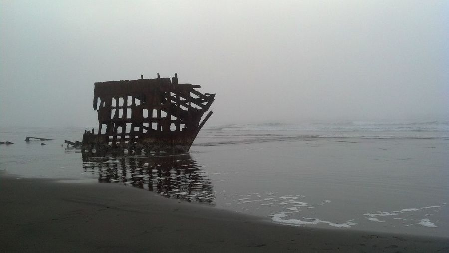 Wreck of Peter Iredale Sea Tranquility Beach Nature Water No People Outdoors Nautical Vessel