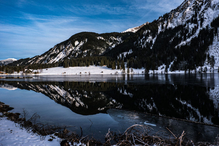 Beautiful lake in austria in winter with great  reflexion