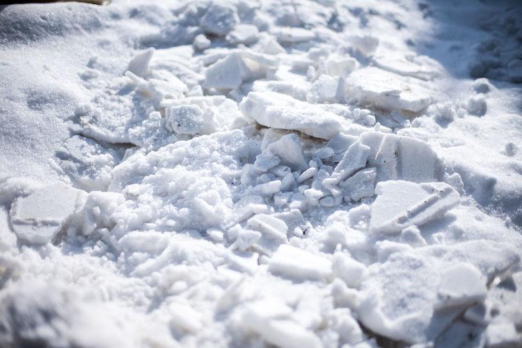 Close up of broken snow