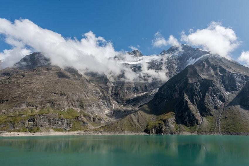Himmel Hochgebirge Hochgebirgsstausee Hohe Tauern Landschaft Mooserboden Salzburger Land Stausee Wiesbachhorn Wolken Gebirge Kaprun Österreich