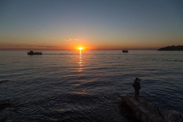 Beautiful Croatian sunset... Holiday Holidays Porec, Croatia Reflection Ripples Travel Vacations Beauty In Nature Idyllic Last Light Nature Porec Scenics - Nature Sea Sea And Sky Seascape Sky Sun Sunset Sunsets Tranquil Scene Tranquility Vacation Visit Croatia Water