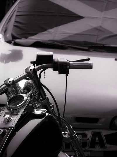 Close-up Day Land Vehicle Mode Of Transport Motorbike Photography No People Outdoors Stationary Transportation Black And White Friday Rider