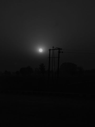 Electricity  Night Cable Power Line  Moon Sky No People Outdoors Nature Lightroom Mobile India_clicks New Talent This Week Fun Begins Indianpictures Jaipurdiaries Backlight And Shadows My Year My View Calmness Hanging Night View Night Light Electric Pole Hanging Outdoorslife