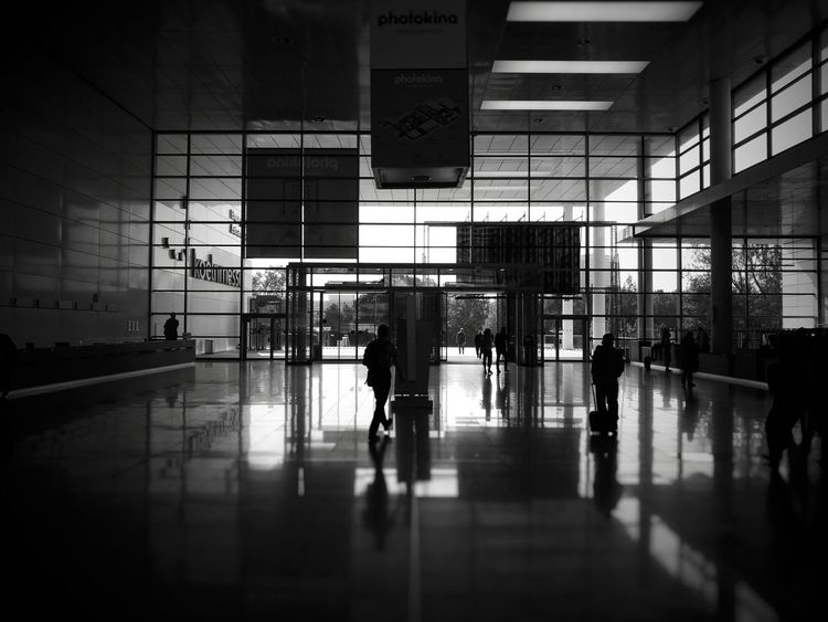Lobby of the Koelnmesse GmbH, Southside, by the photokina 2016 Architecture Built Structure Corridor Glass - Material Indoors  Lobby Men Modern Photokina Photokina2016 Reflection Tiled Floor Walking