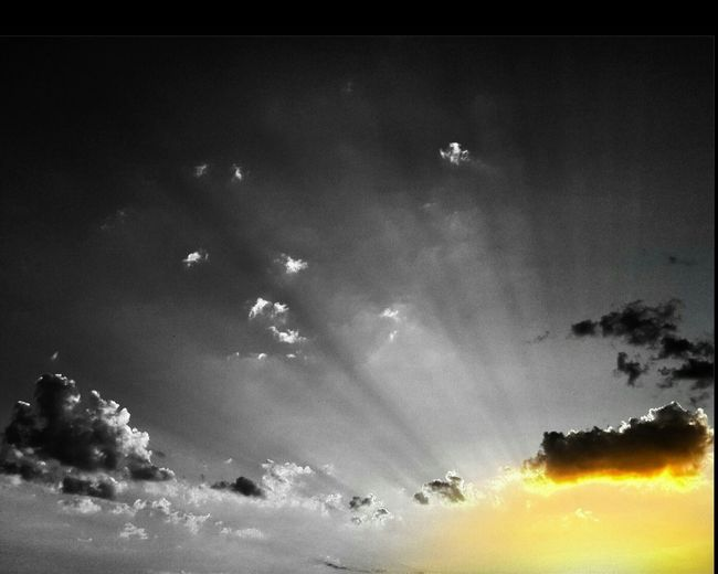 Low Angle View Sky Tranquility Scenics Tranquil Scene Beauty In Nature Sunbeam Cloud Cloud - Sky Idyllic Nature Blue Sun Outdoors Lens Flare Day High Section No People Non-urban Scene
