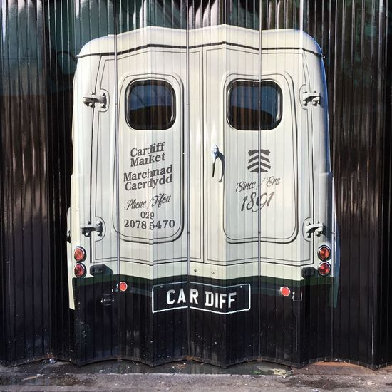 Outdoors Front Door No People Wales Check This Out Streetstyle Tourism Welsh Landscape Cardiff Market Cardiff Market Morris Minor 1000 Van Mural Art Streetphotography Streetart/graffiti