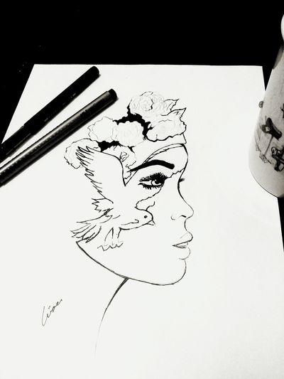 Picture Draw Black & White Night Goodnight Art Drawing Ruh Sanat Monochrome