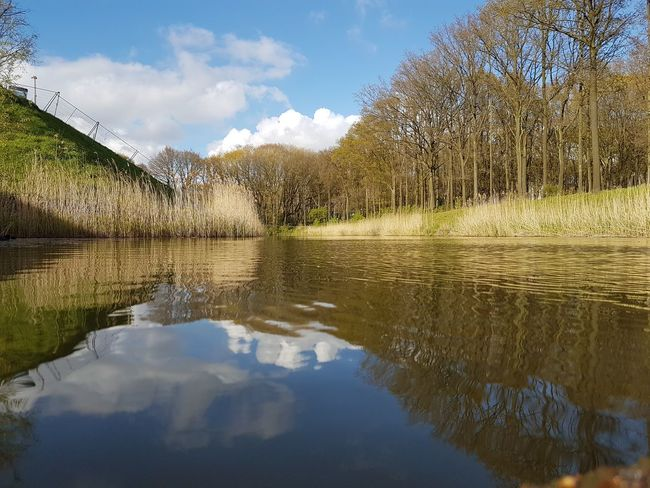 Reflection Water Cloud - Sky Sky Lake Scenics Day Tranquility No People Outdoors Nature Tree Beauty In Nature Sky And Clouds Enjoy The View Hanging Out Taking Photos Resting Place Relaxing Nature Beauty In Nature Peace And Quiet Beautiful Day Enjoying The Sun Springtime