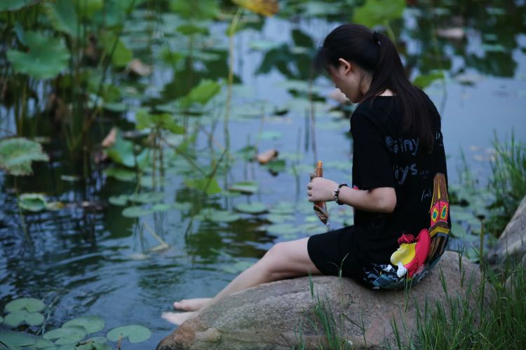Watercolor My Unique Style Lotus Lotus Pond Girl Potrait Hot Girls Night View Night Lights Check This Out