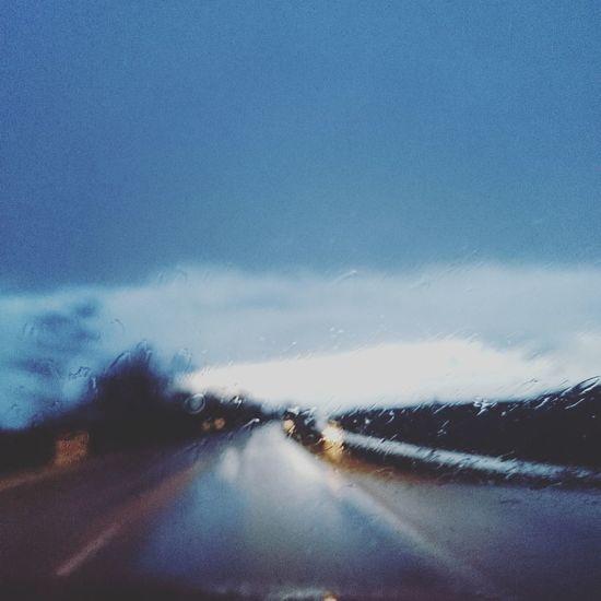 Rainy Day No Focus Wet Roads Blue Sky ☔⛅