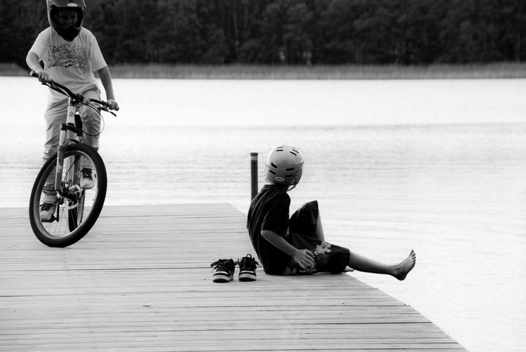 Siblings Bare Foot Bicycle Black And White Photography Blackandwhite Bridge Brother And Sister Child Childhood Day Full Length Lake Leisure Activity Lifestyles Men Nature People Real People Riding Sitting Togetherness Transportation Two People Water