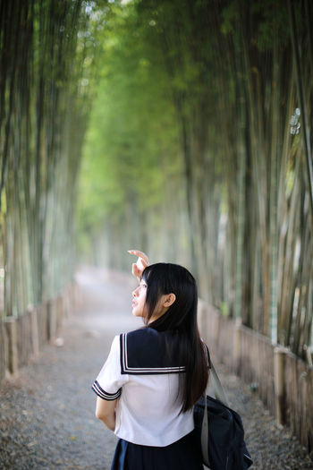 Rear view of young woman in bamboo groove