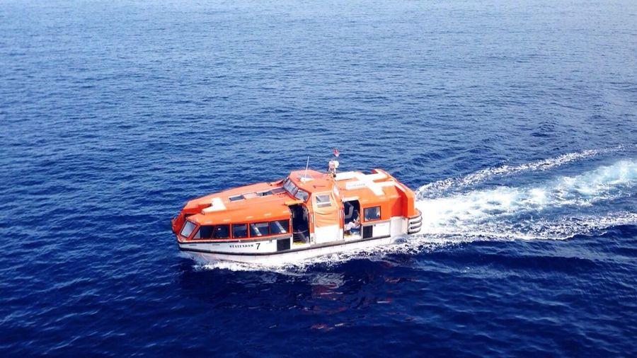 Tender Orange Cruise Lifeboat Pacific Ocean