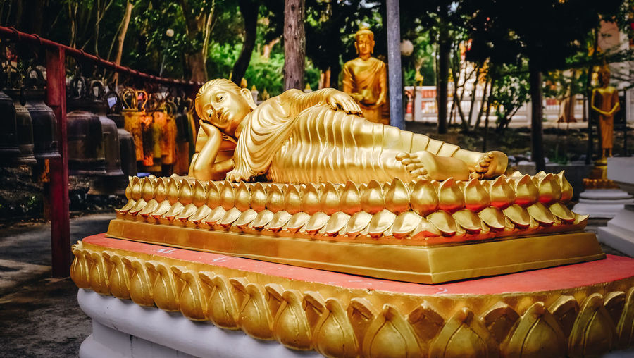 Thailand Arrangement Art And Craft Belief Creativity Focus On Foreground Gold Colored Religion Statue