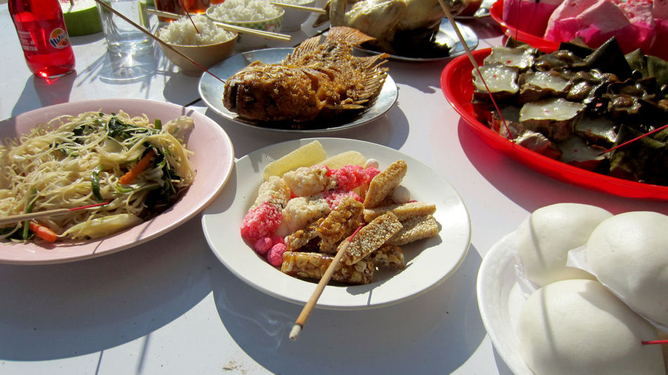 Spirit Festival Ancestor Worship Bowl Day Food Food And Drink Ghost Festival High Angle View No People Plate Ready-to-eat Rite Sweetmeat Table