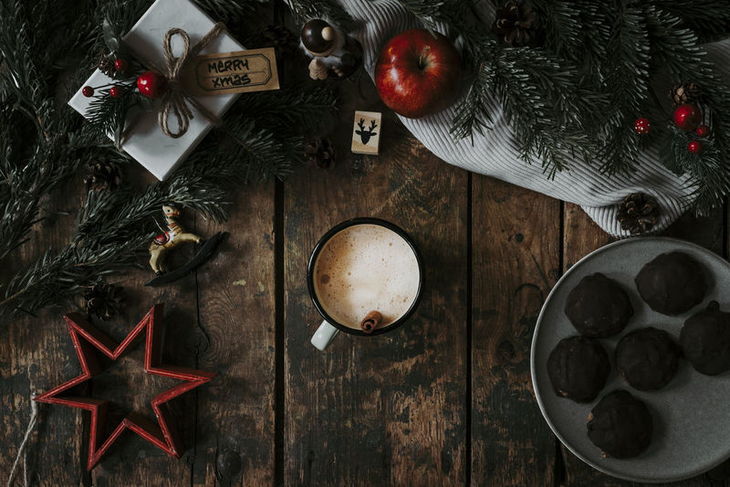 Christmas Table Holiday Christmas Decoration Celebration Directly Above Decoration No People High Angle View Star Shape Indoors  Christmas Ornament Xmas Xmas Decorations Christmas Coffee Coffee - Drink
