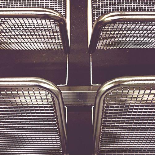 Metal seats at