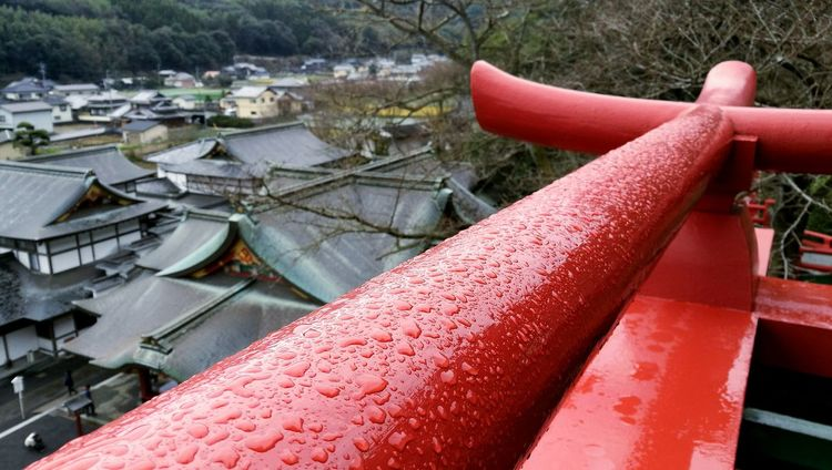 No People Architecture Outdoors Water Day Shrine Japan RainDrop Beauty In Nature Village Tree
