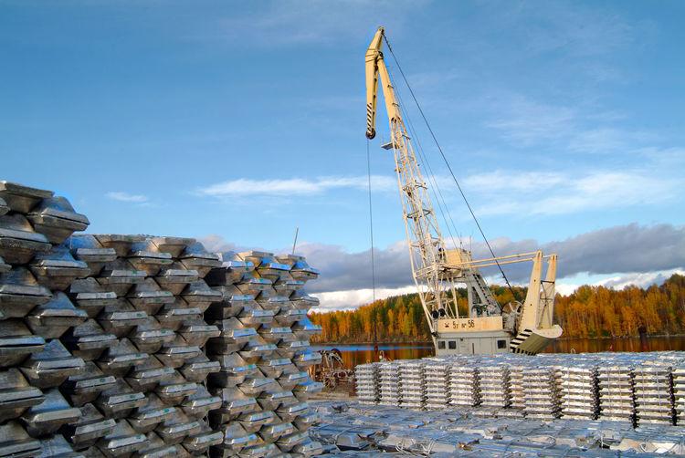 Crane at aluminum smelting factory