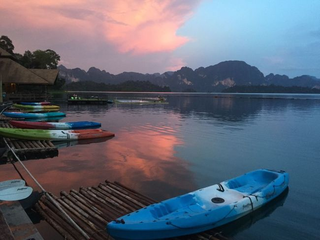 Resort Kayak Water Water Reflections Lake Sunset Reflection Suratthani Dam Cloud Clouds And Sky Nature Mountain Range Boat Boats Sky Mountain Mountains Peace Peace And Quiet Calm Calmness Thailand IPhoneography
