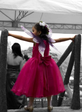 Costume Fairy Kid Selective Color Back View Little Girl Young Girl Girl Standing Rear View Head Dress Looking Sideways