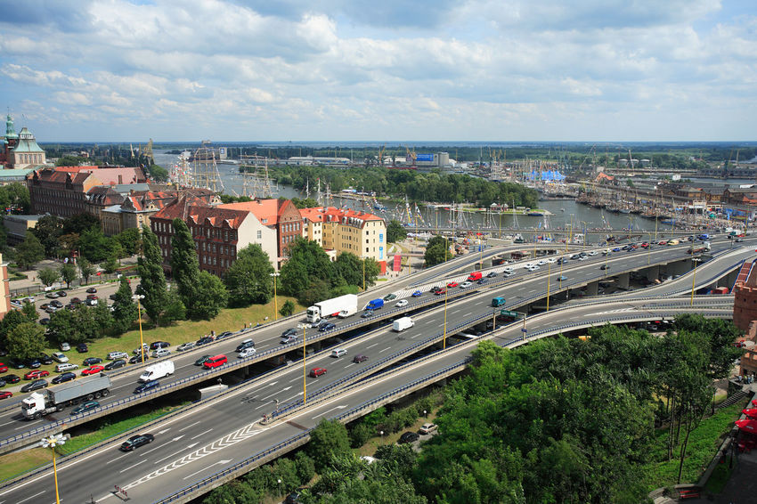 City Poland Road Szczecin Architecture Bridge Bridge - Man Made Structure Building Exterior Car City Connection High Angle View Land Vehicle Mode Of Transport Polen Road Stettin Traffic Transportation