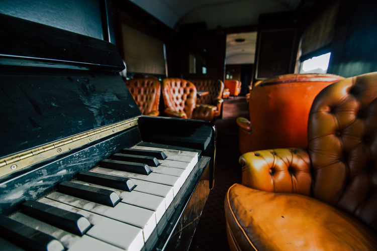 Close-up of piano keys in orient express