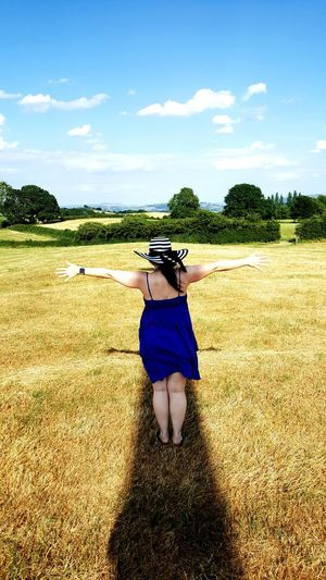 Woman Shadow Agriculture Rear View Standing Sky Cloud - Sky