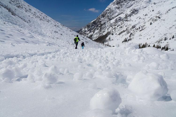 People walking on snowy landscape against sky