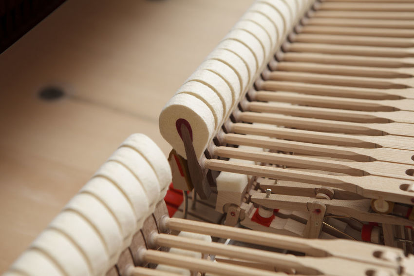 piano hammers, close up Music Close-up Equipment Focus On Foreground Hammer In A Row Instrument Machinery Metal Pattern Piano Hammers Piano Insides Selective Focus Technology White Color Wood - Material