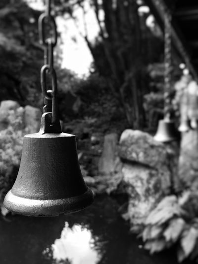 Close-up Focus On Foreground Bell Outdoors Blackandwhitephotography Black&white Eye4photography  Iphone6s My Smartphone Life IPhoneography Iphonephotography IPhone IPhone Photography Black And White Photography Blackandwhite Photography Black & White Black And White Blackandwhite EyeEm Gallery Depth Of Field Garden Garden Photography