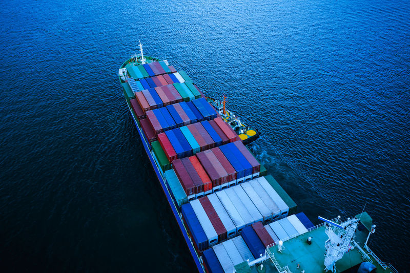 Water Nautical Vessel Sea High Angle View Transportation Ship Freight Transportation Aerial View Mode Of Transportation Shipping  Nature No People Business Industry Outdoors Blue Container Ship Waterfront International Import/export